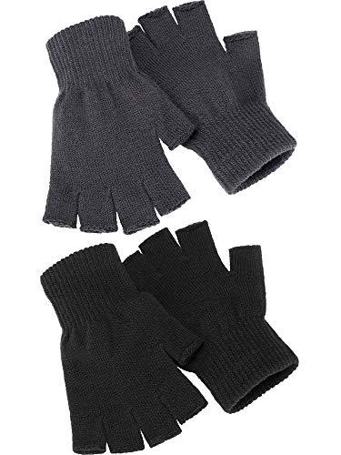 2 Paare Halbfinger Handschuhe Unisex Warme Winter Fingerlose Handschuhe für Männer Frauen (Schwarz, Grau)