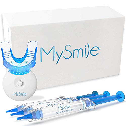 MySmile Teeth Whitening Kit with LED Light, 3 Non-Sensitive Teeth Whitening Gel and Tray, Deluxe 10...