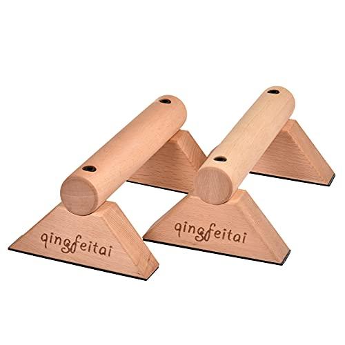 qingfeitai Barra de empuje hacia arriba barras paralelas barra de gimnasia equipo calistenia madera para entrenamiento al aire libre antideslizante Push Up asas