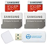 Samsung 128GB Evo Plus MicroSD Card (2 Pack EVO+) Class 10 SDXC Memory Card with Adapter (MB-MC128HA) Bundle with (1) Everything But Stromboli Micro & SD Card Reader