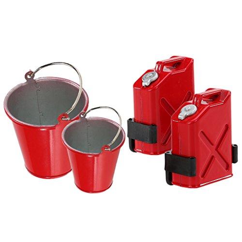 MagiDeal 2pcs Seau Grand et Petit en Métal Rouge + 2 Kits Mini Réservoir de Carburant pour 1/10 RC Voiture Camion Rock Crawler