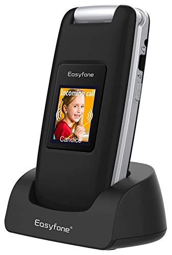 Easyfone Prime-A1 gsm Teléfono Móvil para Personas Mayores con Tapa, Audífonos Compatibles, Teclas Grandes, Cámara de 2.0MP, Fácil de Usar Celular para Ancianos con SOS (Negro)