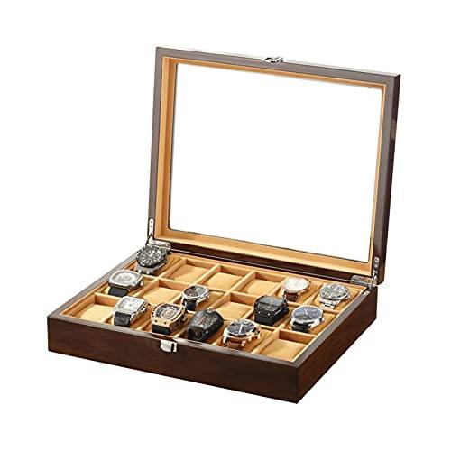 ZXNRTU Reloj Caja de Almacenamiento 18 Slots Watch Pantalla de visualización Funda, joyería de Madera Maciza Pulsera Organizador de colección con Tapa de Vidrio