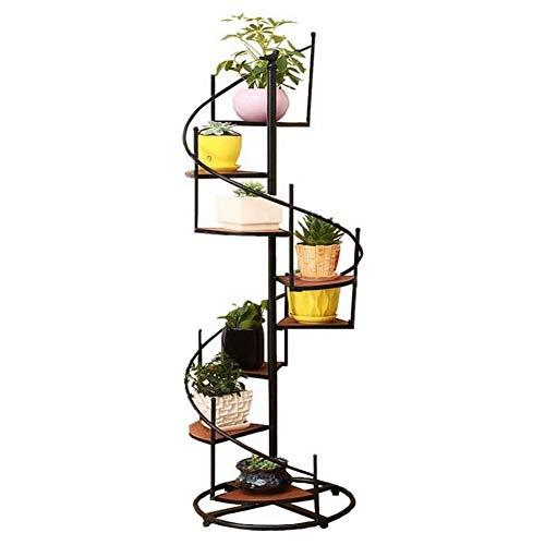 Cestbon Estantería de Flores, Hierro Forjado y Madera sólida girando multinivel Escalera de Caracol, Marco de la Flor,Negro