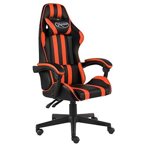 vidaXL Silla Gaming Asiento Sillón Mobiliario Estudio Escritorio Videojuegos Oficina Despacho Ordenador de Cuero Sintético Negro y Naranja