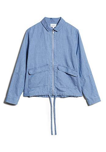 ARMEDANGELS HILMAA - Damen Jacke aus Bio-Baumwolle-Leinen Mix S Foggy Blue Jacken Overshirt Relaxed Fit
