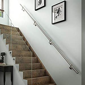 Stairs Staircase Handrail Banister Rail Support Kit 3.6m Satin Stainless Steel 40mm by Rothley