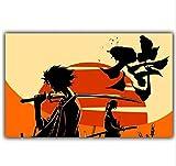 jiushibt Kein Rahmen Samurai Anime und japanische Anime-Bilder für Wand-Dekor Kopfkissen Motorrad,...