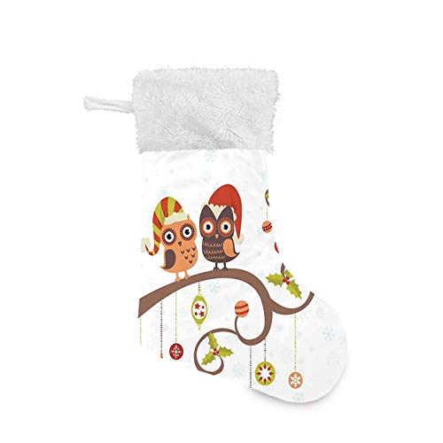 Jieaiuoo Christmas Stocking Hanging Decoration,Owls on Celebrating Twiggy Tree Branches Annual Yule Noel Christmas Themed Print,Christmas Holiday Ornaments Home Decor Toys Candy Gift Bag