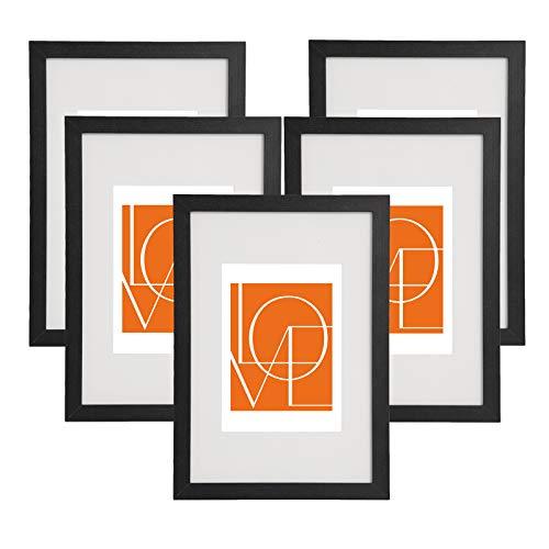 WOLTU 5er Set Bilderrahmen Fotorahmen Holzrahmen 13x18cm, Fotogalerie mit Papier-Passepartout, aus MDF Platte, BR9646sz-5