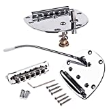 difcuyg5Ozw Vibrato Tremolo Alloy Nickel Plated Copper-Zinc Bridge Set with Small Screw Key for Mustang Guitar Replacement Parts,Electric Guitar Parts- Silver
