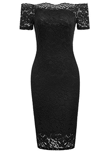 GRACE KARIN Off The Shoulder Pencil Dresses for Women Bodycon Sheath Dress(Small,Black)