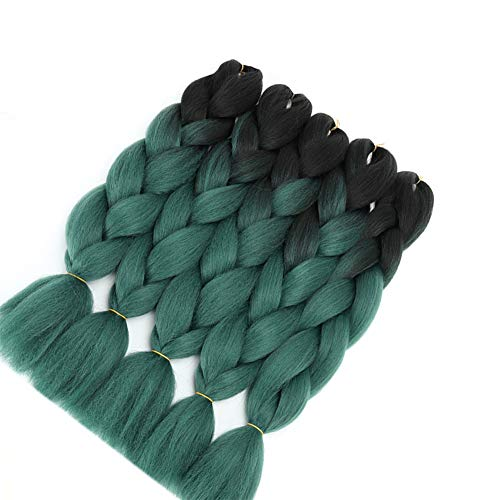 Ombre Braiding Hair Green Kanekalon Jumbo Braids Hair Extension Jumbo Braiding for Twist Braiding Box Braids Crochet Hair (Black-Dark Green 24'5PCS)