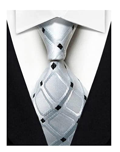 Wehug Hombres Clásico Seda Corbata Tejido Jacquard Corbatas De Cuello Para Hombres, Blanco, 3.1 inch