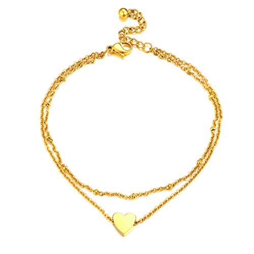 PROSTEEL 18k vergoldet Fußkette Herz Charm Doppelkette Fußkettchen 20+5 verstellbar Rolokette Fußband Damen Mädchen tolles Sommer Strand Schmuck Accessoire