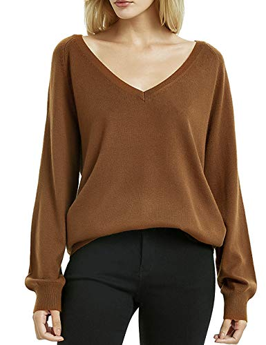 Kallspin Women's Cashmere Blended Sweater Deep V Neck Long Sleeve Pullover Office Sweaters for Fall Winter Caramel Large