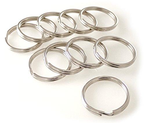 van den Heuvel Schlüsselringe Stahl vernickelt stabil Durchmesser 50 mm (groß) 10 Stück