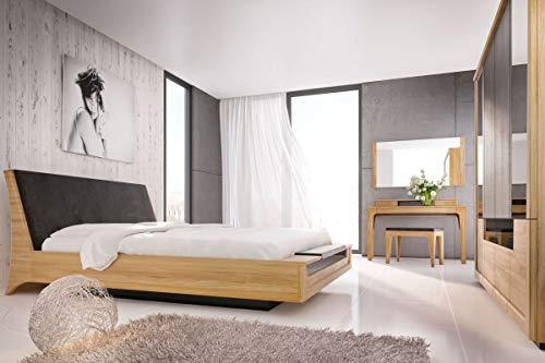 Schlafzimmer Komplett – Set N Topusko, 6-teilig, teilmassiv, Farbe: Eiche / Schwarz