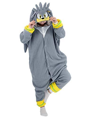 vavalad Sonic Onesies Pajamas Adult Cosplay Silver The Hedgehog Homewear Sleepwear Jumpsuit Costume Women Men
