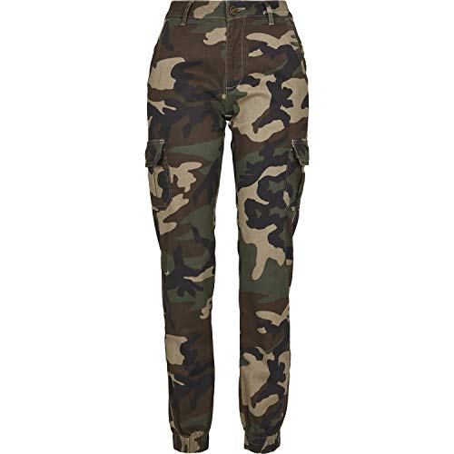Urban Classics Ladies High Waist Camo Cargo Pants Pantaloni, Multicolore (Woodcamo 00841), 44 (Taglia Produttore: 28) Donna
