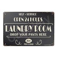 Open 24 Hours ランドリールーム 12インチx8インチ ヴィンテージレトロメタルブリキ看板 ホームバスルーム 洗濯室の装飾