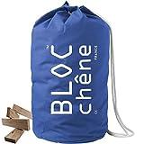 BLOC-chêne - Jeu de Construction Premium - Sac Marin Bleu de 420 Planchettes en Chêne Massif