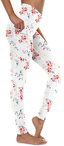 syoss Yoga Pants for Women with Pockets, High Waisted Leggings with Pockets for Women, Workout Leggings for Women, Floral White L