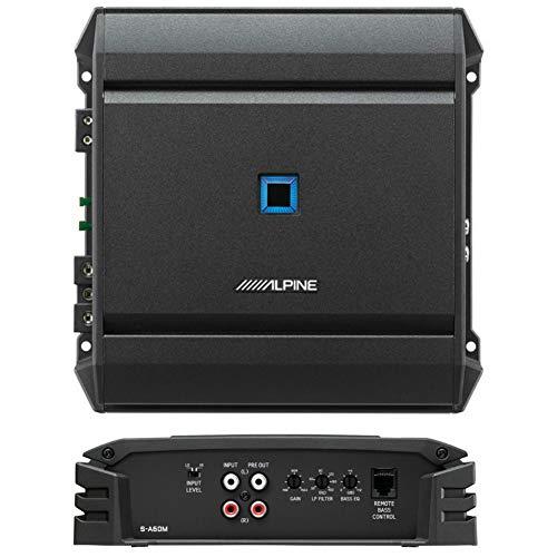 1 Amplificador Compatible con Alpine S-A60M monofónico Clase d 1 Canal 600 vatios rms Estable a 2 ohmios 1100 vatios MAX Bass eq Coche Negro, 1 Pieza