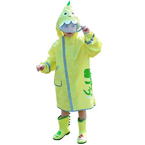 LIVACASA Impermeabile Bambini Poncho Pioggia con Cappello a Tesa Trasparente Strisce Riflettenti Ragazze Ragazzi Giacche per La Pioggia con Tasca Raincoat Impermeabile Verde M