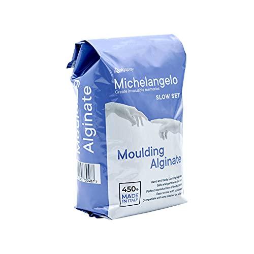 Michelangelo Moulding Alginate Slow Setting. Alginato cromatico per Impronte di Alta precisione, Perfetto per Realizzare calchi delle Mani o del Corpo. Prodotto in Italia. (1 Busta)