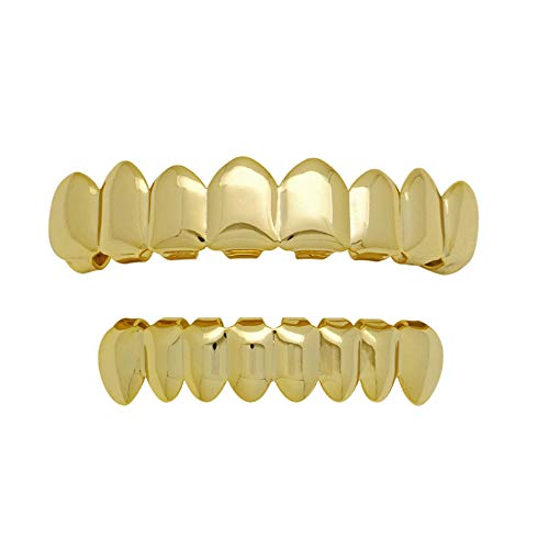 Paddsun 14K Gold Plated Grillz Top Bottom Shiny Hip Hop 8 Teeth Grillz Mouth Set for Your Teeth for Halloween Men and Women