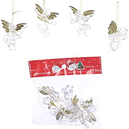 Gogias Colgante de Navidad, colgante de ángel de Navidad, acrílico, transparente, para decoración de oficinas, hoteles y escuelas