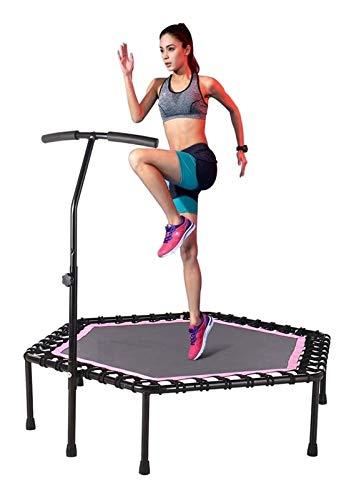 YCRCTC 48'Mini Mini Trampoline Fitness Trampoline Bungee Rebounder Saltando Entrenamiento de Entrenador de Cardio para Adultos - Límite máximo 330 lbs (Color : Pink)