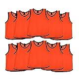 Ronex Sports Petos de Entrenamiento para niños, jóvenes y Adultos (Petos Deportivos, Petos de Futbol) - Pack de 10 Unidades Naranja, Junior (10-15 años)