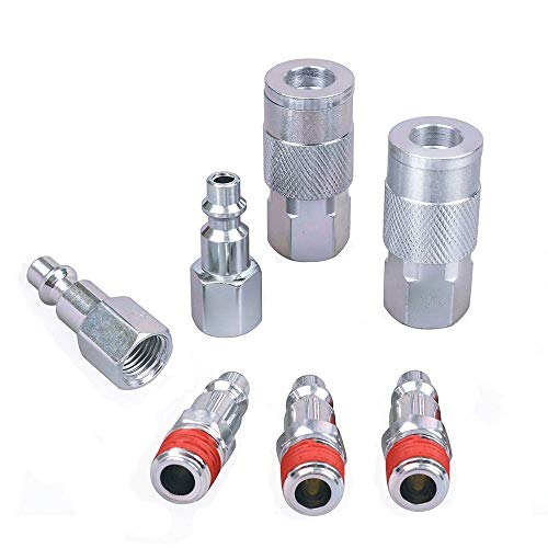 KingBra General Industrial tipo 1 par macho + hembra 1/4' FNPT acoplador un 3 piezas 1/4' MNPT Plug Fittings Quick Air Flow Tools Milton estilo tipo