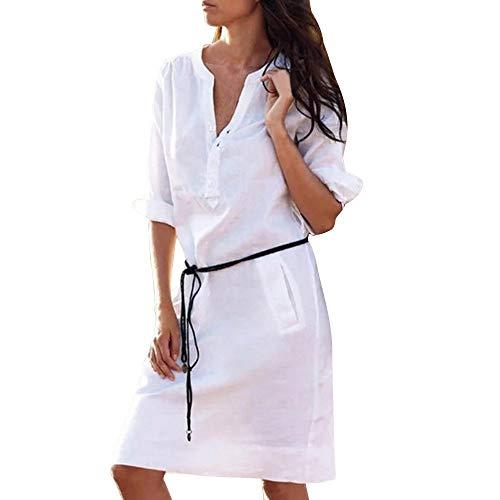 Lialbert Dame V-Ausschnitt Kariertes Leinenkleid T-Shirt-Kleid ÄRmeln Minikleid Tunika Frauen GüRtel Kaftan TaillengüRtel Etuikleider Lockerer Freizeit Rock Weiß