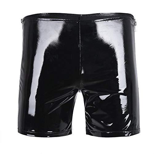 KHDFYER Crossdresser Dessous Herren Shiny Side Zipper Hot Panties Jockstraps Boxershorts Mit Auffälliger Sexy Unterwäsche Für Nighclub Party Shorts-Schwarz_XL