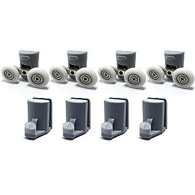 Smooth 4x Twin Top Double 4x bottom hooks Shower Door Rollers/Runners 25mm wheels Diameter