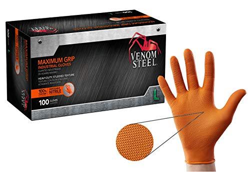 Venom Steel Maximum Grip Nitrile Gloves, 8 Mil Thick, Raised Diamond Texture for Grip, Puncture and Rip Resistant, Hi-Visibility Orange, Large (100 Count)