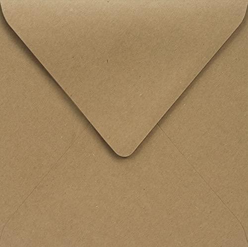 Netuno 100 sobres cuadrados de papel kraft de 100g, color marrón arena, 145 x 145mm, solapa en punta, reciclados, alta calidad, para bodas, cumpleaños, Navidad