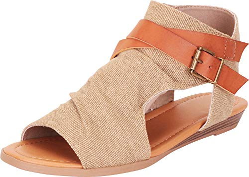 Cambridge Select Women's Strappy Buckle Cutout Wedge Sandal,7.5 B(M) US,Natural