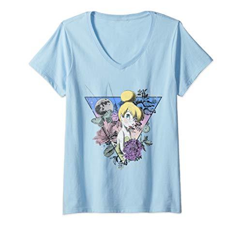 Womens Disney Tinkerbell Wilderness Collage V-Neck T-Shirt