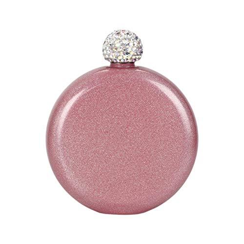 Jingtaihua Lindo frasco de licor para mujer, con tapa de diamantes de imitación para mujer, frasco de vino, a prueba de fugas, licor de acero inoxidable, botella de alcohol portátil