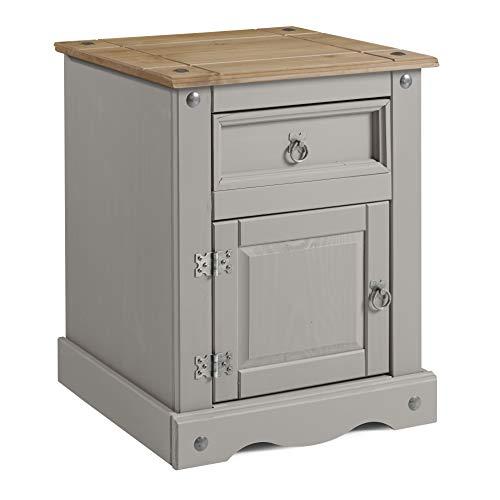Mercers Furniture Corona Grey Wax Large Bedside Table Pot Cupboard