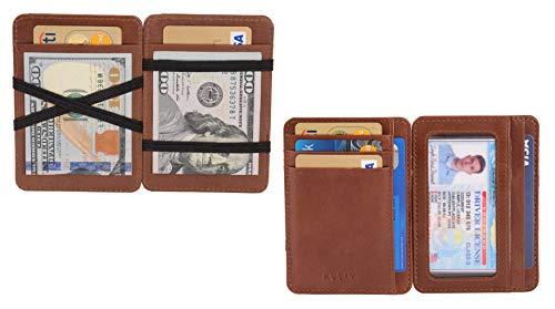 AULIV Card Holder Leather Magic Wallet RFID Blocking Slim Minimalist Front Pocket Credit Card Case for Men Women (Dark Tan)