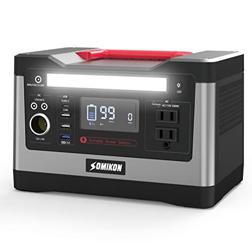 Somikon ポータブル電源 大容量 純正弦波 540W 150000mAh 540Wh 家庭用 蓄電池 PSE認証済み 40日間返品受付...