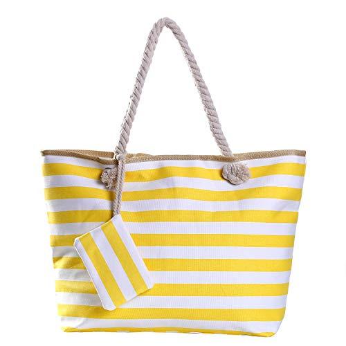 Große Strandtasche mit Reißverschluss 58 x 38 x 18 cm gestreift gelb weiß Shopper...