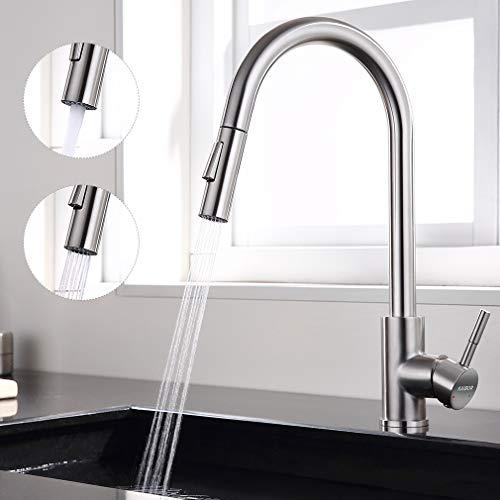 KAIBOR Edelstahl Küchenarmatur 360° Drehbar Wasserhahn Küche mit 2 Strahlarten, Hohe Einhand- Spültischbatterie mit Ausziehbare Düse, Spültischarmatur für Küche Spüle