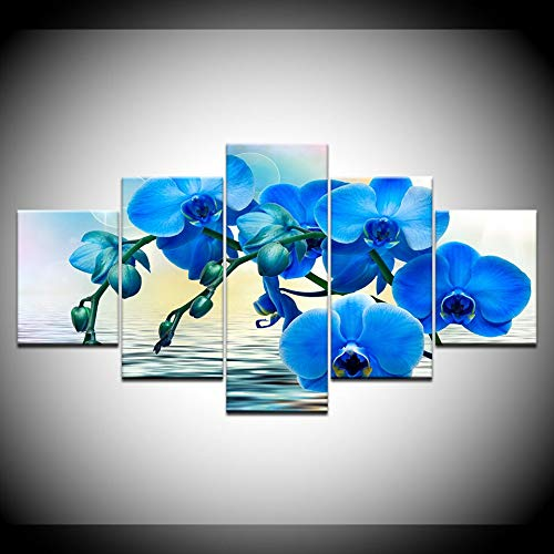 KJLTLD Canvas Prints - Blue orchid flower paneling - 150x80cm/60x32inch Nonwoven Flat Wall Decoration Wall Living Room - 5 Pieces - Art Prints - Ready to Hang - DA73024FA