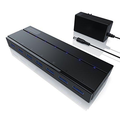 CSL - USB Hub 3.0 mit Netzteil aktiv - aktiver 7 Port Verteiler - inkl. 1x 12V 3A DC-Hohlsteckernetzteil - für PC Notebook Laptop PS4 Tablet MacBook - Super Speed bis zu 5 Gbit s